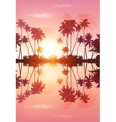 Pink sky palms silhouettes with reflection vector image