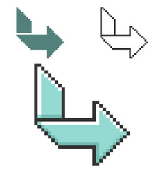 Pixel icon orthogonally curved arrow in three vector