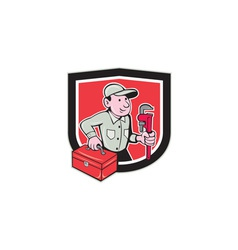 Plumber toolbox monkey wrench shield cartoon vector