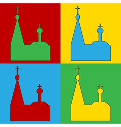 Pop art orthodox church icons vector