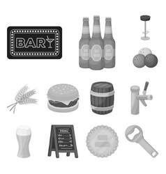 pub interior and equipment monochrome icons in vector image
