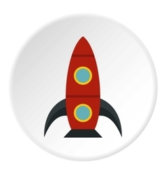 Rocket with portholes icon flat style vector
