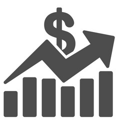 Sales bar chart trend icon vector