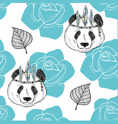 Seamless pattern with cute panda as a native vector