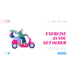 seniors driving scooter website landing page vector image