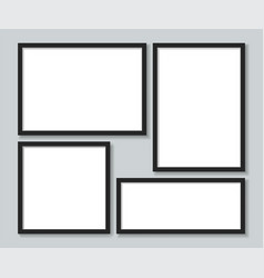 set black photoframes template vector image