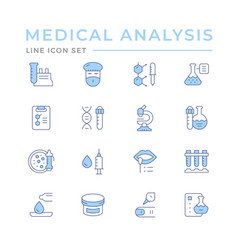 Set color line icons medical analysis vector