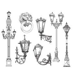 set decorative architectural elements street vector image
