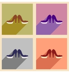 Set of flat web icons with long shadow women shoes vector