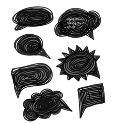 Set of hand-made comic style talk clouds vector