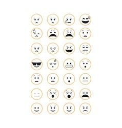 Set of outline emoticon vector image
