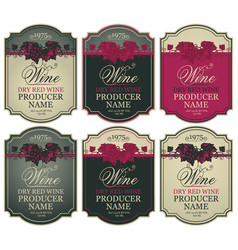 set wine labels with bunches grapes vector image