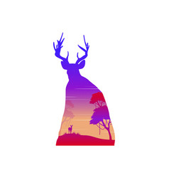 Silhouette of a deer at sunset landscape vector