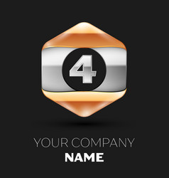Silver number four logo in silver-golden hexagonal vector