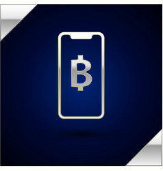 Silver phone mobile and cryptocurrency coin vector