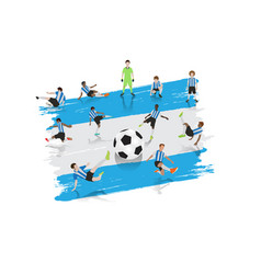 soccer player team with argentina flag background vector image