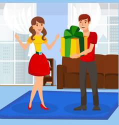 surprise gift presenting flat vector image
