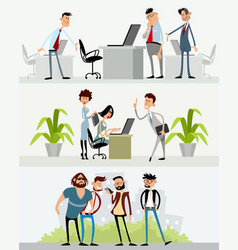 three scenes with different characters vector image
