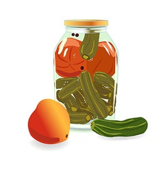 Transparent Bank with cucumbers and tomatoes vector image
