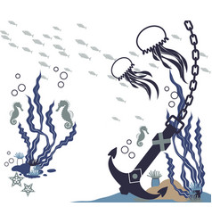 Underwater landscape vector