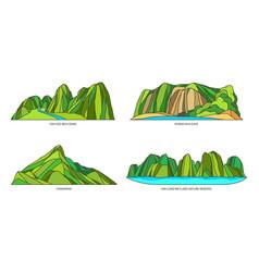 Vietnam landmarks or landscape mountains icon set vector