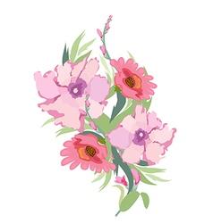 Watercolor Archival Art Chrysanthemums Bouquet vector image