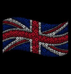 Waving united kingdom flag collage of spotlight vector