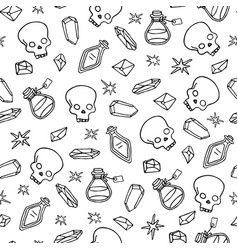 Wiccan seamless pattern with magic symbols vector