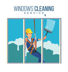 window washer worker man cleaning window vector image