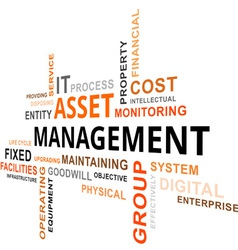 Word cloud asset management vector