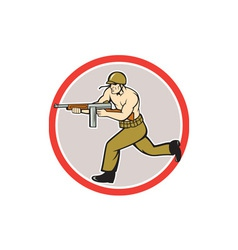 World War Two Soldier American Tommy Gun vector image