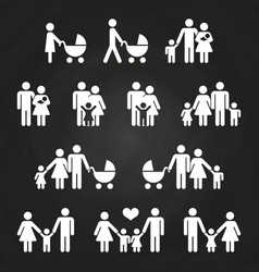 baby and parents outline icons design - white vector image