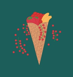 Doodle wafer cone with fruits and berry vector image vector image