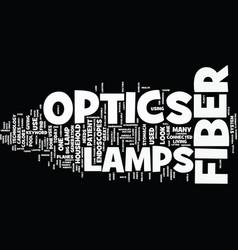 Lamps for fiber optics text background word cloud vector