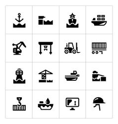 Set icons of seaport vector image vector image