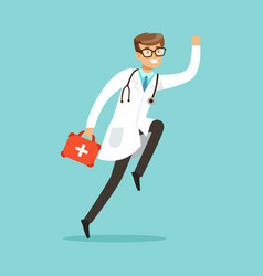 smiling male doctor character running with first vector image vector image