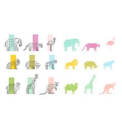 wild animals flat polygonal icons set vector image vector image