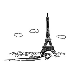 eiffel tower with cityscape and clouds vector image vector image