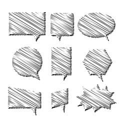 hand-drawn speech bubbles vector image