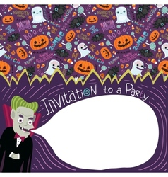 Happy Halloween invitation with Dracula vector image