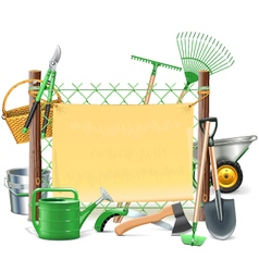 Mesh Frame with Garden Tools vector image vector image