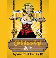 oktoberfest poster with bavarian girl vector image