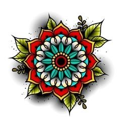 Old school tattoo flower vector