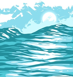 sea waves against the sky vector image vector image