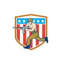 World War Two Soldier American Tommy Gun Shield vector image vector image
