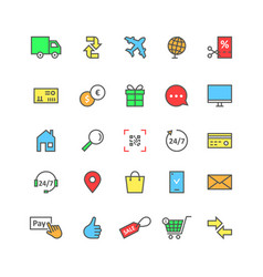 color set icons of e-commerce online shopping for vector image vector image