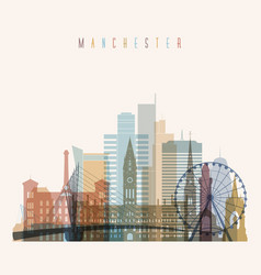 manchester skyline detailed silhouette vector image