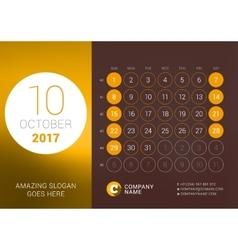 October 2017 Desk Calendar for 2017 Year vector image vector image