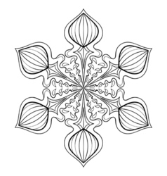 snow flake in zentangle style doodle mandala for vector image vector image