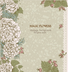 Vintage background of stylized flowers and berries vector image